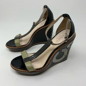 Coach Maggie black patent leather wedges